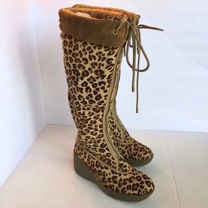 Cole Haan Leopard Calf Hair Shearling Wedge Boot